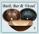 Bath Sinks, In Stock Bar Sinks, Custom Bar Sinks, Drains, Vessels