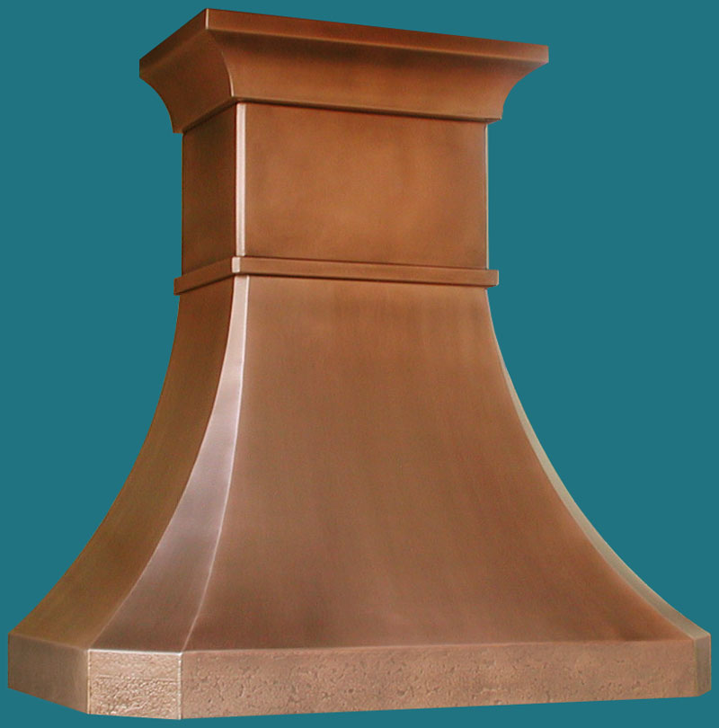 Handcrafted metal extra tall copper french country crown range hood