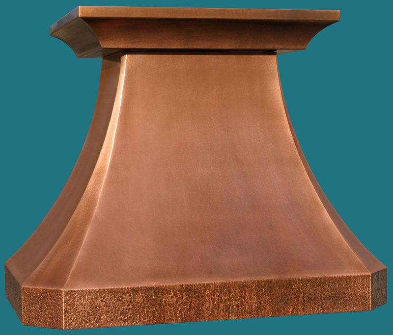 Handcrafted metal copper french country crown range hood with hammered band