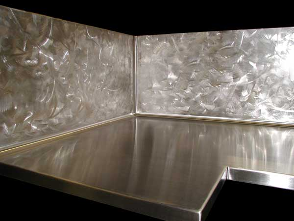 zinc or stainless steel 39 l 39 countertop with extra tall backsplash