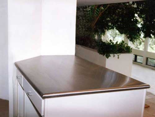 Handcrafted Metal Zinc Or Stainless Steel Bullnose Peninsula Countertop - Stainless steel table with backsplash and sides