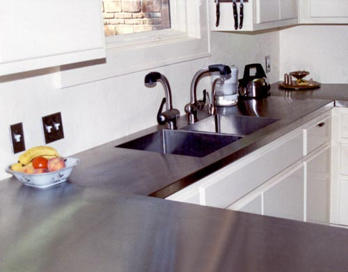 Handcrafted Metal: Zinc And Stainless Steel Countertops With Integral Sinks  And Drainboards