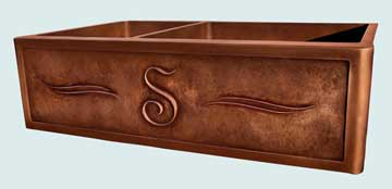Custom Copper Repousse Apron Sinks # 2830