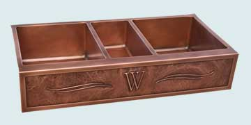 Custom Copper Repousse Apron Sinks # 4349